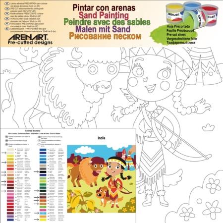 LÁMINA PARA PINTAR CON ARENA INDIA 30 X 30 CM