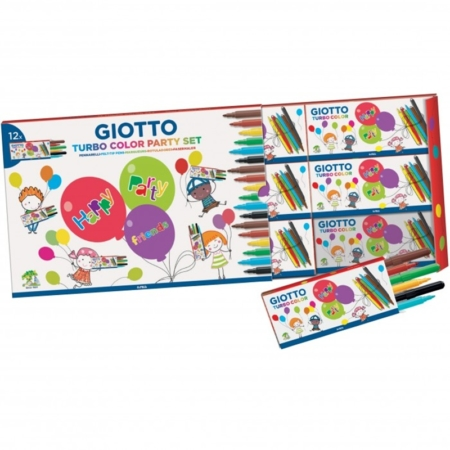 SET DE 12 CAJAS DE 6 ROTULADORES GIOTTO PARTY