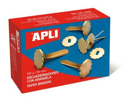 Caja de 100 encuadernadores de latón con arandela Apli 25 mm