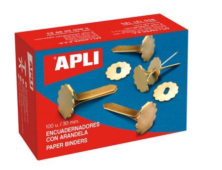 Caja de 100 encuadernadores de latón con arandela Apli 30 mm