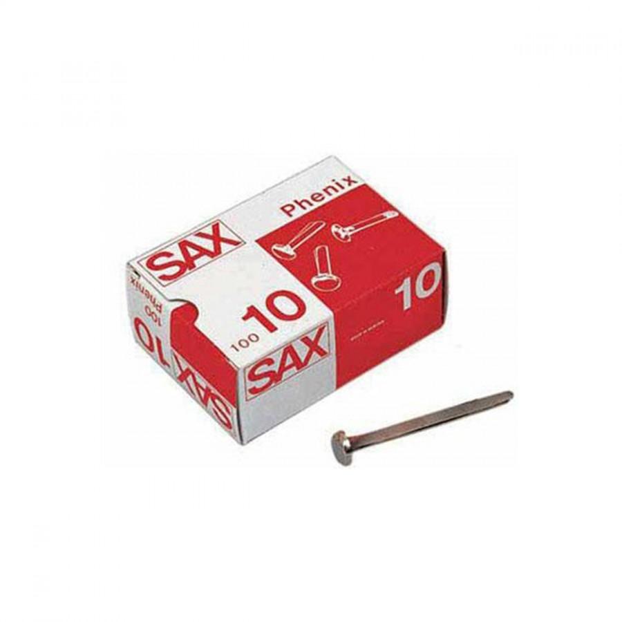 Caja de 100 encuadernadores de latón sin arandela Sax Nº 0