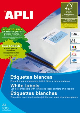 APLI 3060 Etiquetas blancas removibles 210,0 x 297,0 mm 100 hojas