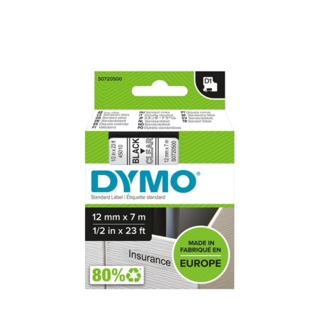 Cinta Dymo 45010  12 MM x 7 Mts  Neg/Transp
