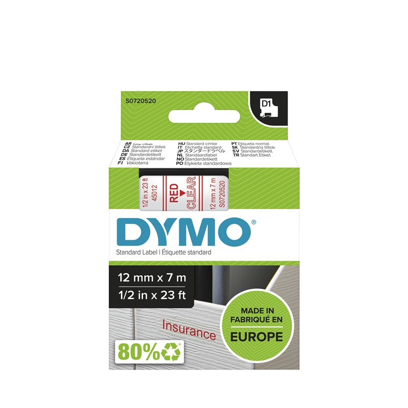 Cinta Dymo 45012  12 MM x 7 Mts  Roj/Transp