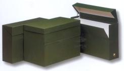 Caja de transferencia de cartón forrado en Geltex verde Fº con lomo de 110 mm Mariola