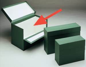 Caja de transferencia de cartón forrado en Geltex verde Fº doble con lomo de 200 mm Mariola