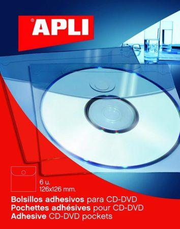 PACK DE 6 BOLSILLOS AUTOADHESIVOS PARA CD-ROM APLI