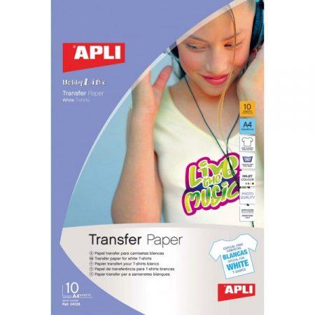 Papel transfer para camisetas blancas APLI 04128 (10 Hojas)
