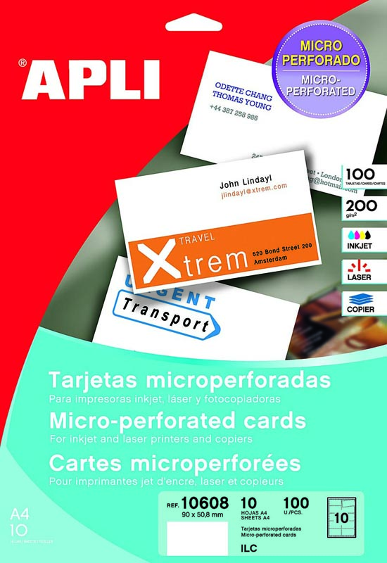 TARJETAS DE VISITA DE 90x50,8 mm MICROPERFORADA APLI 10608 (BLÍSTER DE 100 UNIDADES)