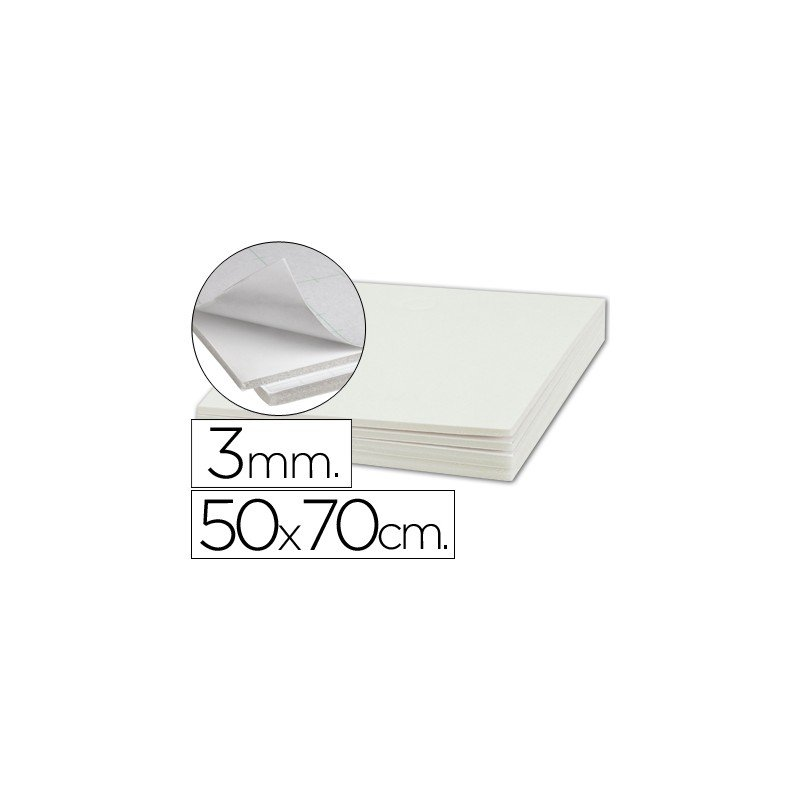 Plancha de cartón pluma blanco de 50 x 70 cm con grosor de 3 mm