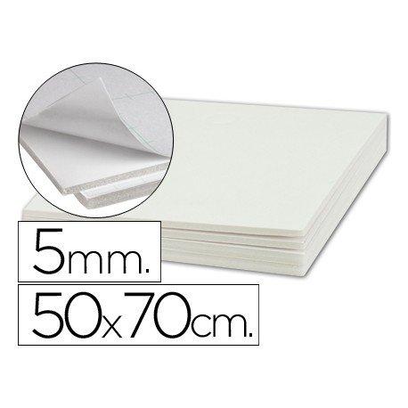 Plancha de cartón pluma blanco de 50 x 70 cm con grosor de 5 mm