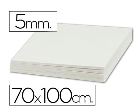 Plancha de cartón pluma blanco de 70 x 100 cm con grosor de 5 mm