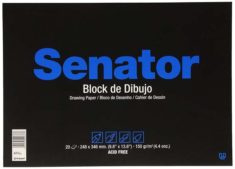 Block de 20 hojas de dibujo sin recuadro Fº prolongado encoladas de 150 grs/m² Unipapel Senator