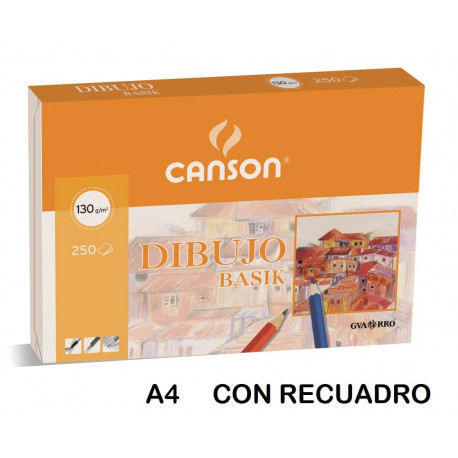 Paquete de 250 láminas de dibujo con recuadro A4+ de 130 grs/m² Canson