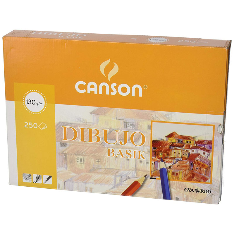 Paquete de 250 láminas de dibujo sin recuadro A4+ de 130 grs/m² Canson