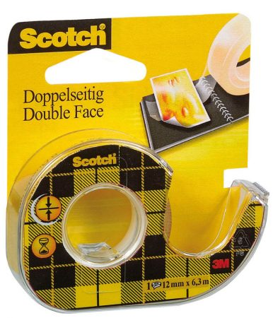 Cinta de doble cara Scotch con porta-rollos 12 mm x 6,3 m