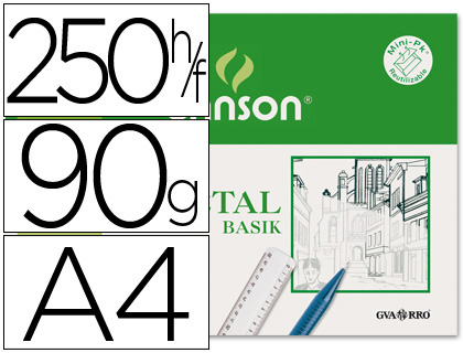 Caja 250 papel vegetal din A4 90-95 grs