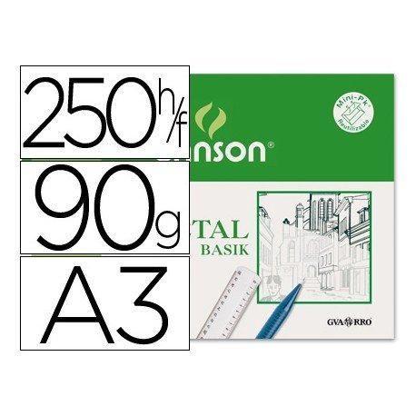 Caja 250 papel vegetal din A3 90 grs
