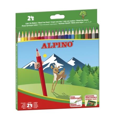 Estuche Alpino cartón 24 lápices de colores largo