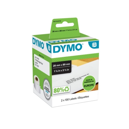 Pack de 2 rollos de etiquetas direcciones Dymo 89 x 28 mm