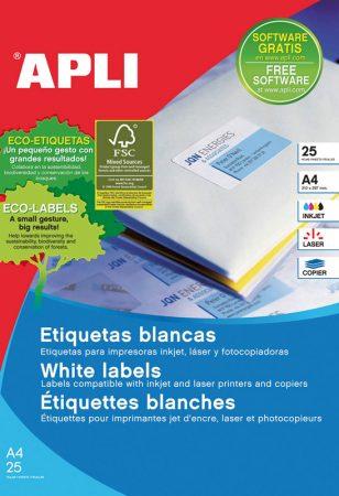 Bolsa de 25 hojas de etiquetas adhesivas blancas con cantos rectos Apli 38 x 21,2 mm