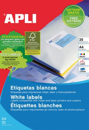 Bolsa de 25 hojas de etiquetas adhesivas blancas con cantos rectos Apli 97 x 42,4 mm