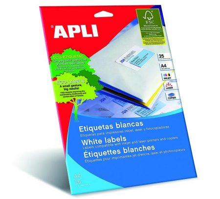 Bolsa de 25 hojas de etiquetas adhesivas blancas con cantos rectos Apli 210 x 297 mm