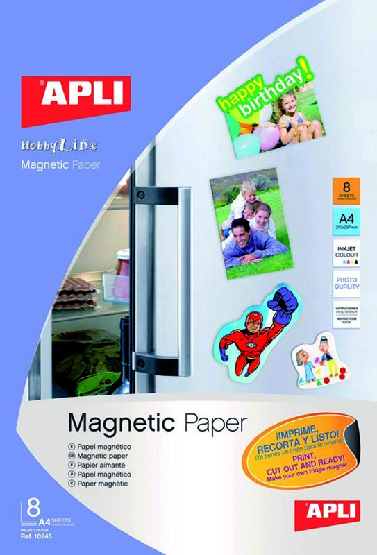 PAPEL MAGNETICO DIN A4 APLI 10245 ( PACK 8 UNID.)