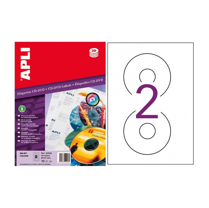 BOLSA DE 10 HOJAS DE ETIQUETAS APLI 2928 CD/DVD COLOR ø 114
