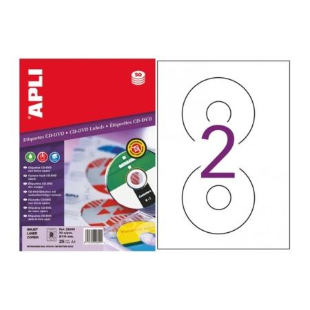 BOLSA DE 25 HOJAS ETIQUETAS DORSO OPACO PERMANENTES PARA CD/DVD APLI 2899