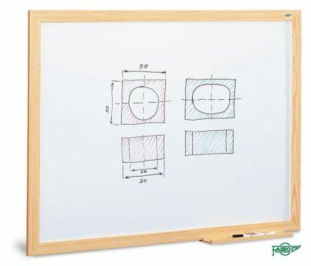 Pizarra estratificada blanca con marco de fibra melaminada de 100 x 200 cm Faibo