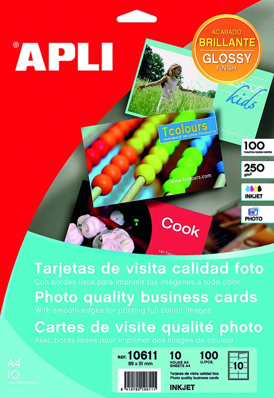 TARJETAS VISITA BORDES LISOS CANTOS RECTOS CALIDAD FOTO 90*50 APLI 10611