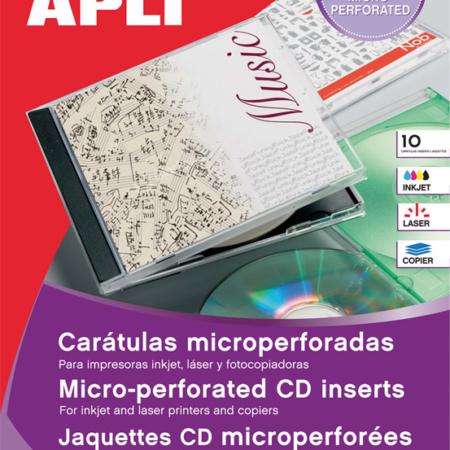BOLSA DE 10 HOJAS DE CARATULAS MICROPERFORADAS PARA CD/DVD APLI 10607