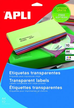 Bolsa de 10 hojas de etiquetas transparentes brillantes Apli 70 x 37 mm