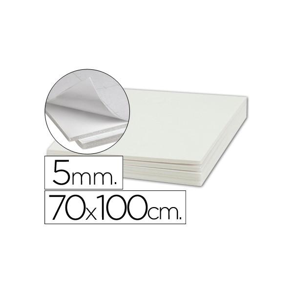Plancha de cartón pluma adhesivo blanco de 70 x 100 cm con grosor de 5 mm