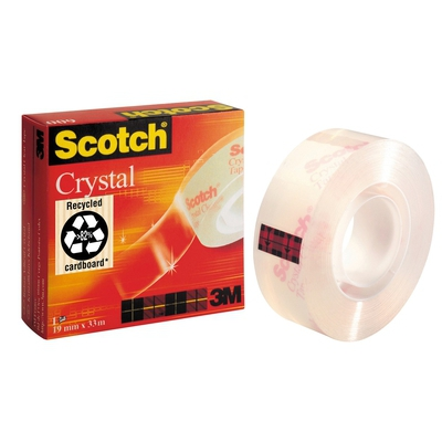 Cinta adhesiva de máxima transparencia Scotch Crystal 19mm x 33m