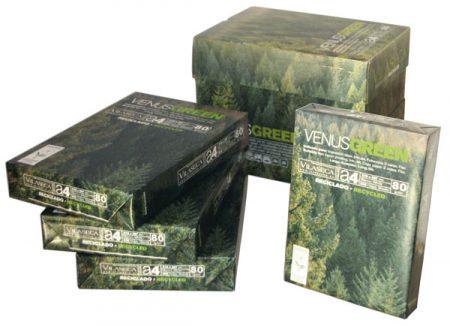 Caja de 5 paquetes de papel fotocopia reciclado venus green A4