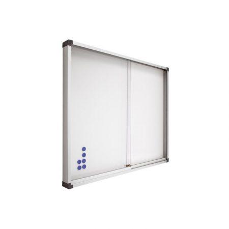 Vitrina de pizarra lacada blanca con puertas correderas de metacrilato de 100 x 150 cm Planning Sisplamo