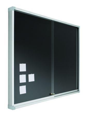 Vitrina de corcho tapizado en negro con puertas correderas de 100 x 120 cm Planning Sisplamo