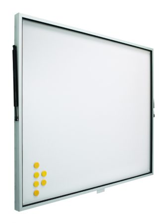 Vitrina de pizarra blanca con puerta telescópica de 100 x 120 cm Planning Sisplamo
