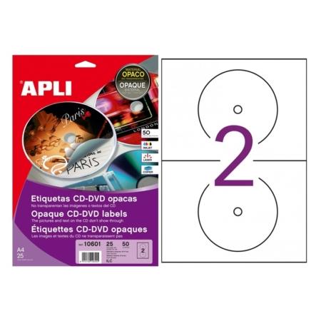 BOLSA DE 25 HOJAS DE ETIQUETAS PERMANENTES DORSO OPACO MEGA PARA CD/DVD APLI 10601