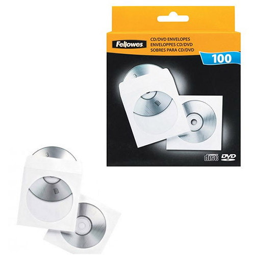 PACK DE 100 SOBRES CON VENTANA PARA CD FELLOWES