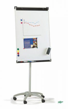 Pizarra metálica blanca con caballete con ruedas y marco de aluminio de 70 x 102 cm Faibo