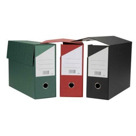 Caja de transferencia de cartón forrado en Geltex rojo Fº doble con lomo de 200 mm Mariola