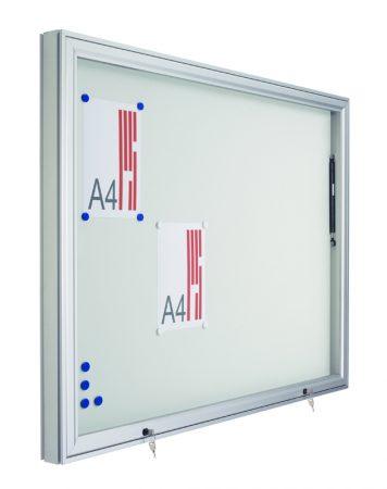 Vitrina mural para exterior con fondo magnético blanco y puerta telescópica de 100 x 135 cm Planning Sisplamo