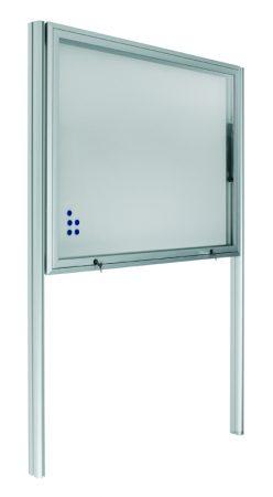 Vitrina mural para exterior con fondo magnético blanco, soportes y puerta telescópica de 100 x 201 cm Planning Sisplamo