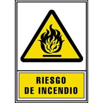 SEÑAL PVC AMARILLO 210x297 RIESGO INCENDIO