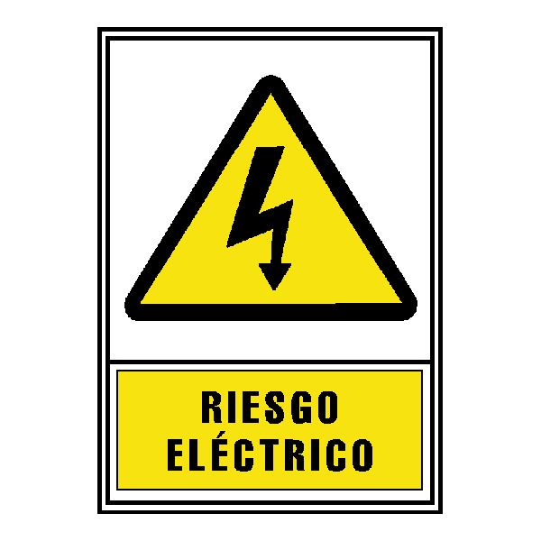SEÑAL PVC AMARILLO 210x297 RIESGO ELECTRICO