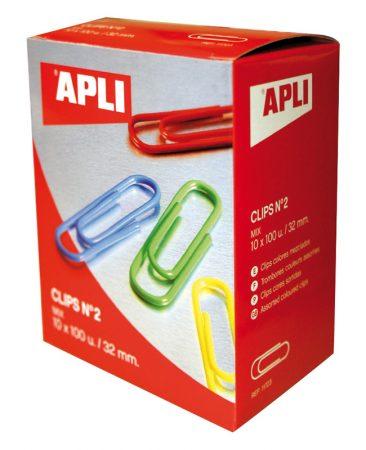 Caja de 100 clips colores surtidos Apli Nº2