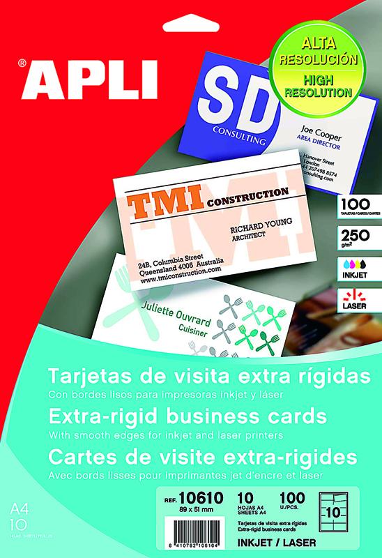 TARJETAS DE VISITA DE 89x51mm APLI 10610 (BLÍSTER DE 100 UNIDADES)